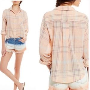Free people🌼Cropped Plaid Flannel shirt🌼